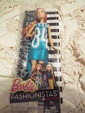 NIB 2015 BARBIE FASHIONISTAS DGY63 Shimmery blue Tank Dress Glam Team Doll #16