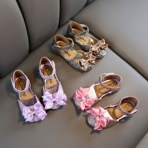 Toddler-Infant-Kids-Baby-Girl-Solid-Bling-Bowknot-Princess-Sandals-Fashion-Shoes