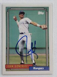1992 Topps Juan Gonzalez Auto Autograph Card Rangers Indians Signed #27