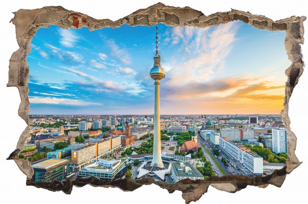 Berlino Città SKYLINE CITY Muro Tatuaggio Parete Adesivo Parete Adesivo d0278
