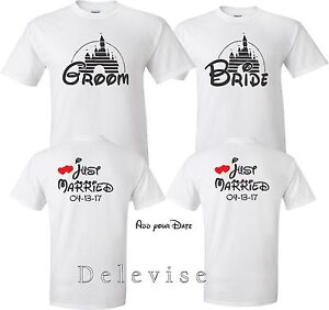 5b1cc74e47a GROOM AND BRIDE Just Married Date On back Wedding Love matching cute ...