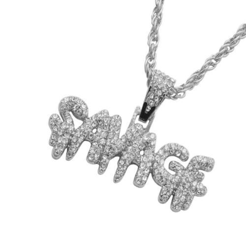 Hip-hop Alphabet Necklace Crystal Letter SAVAGE Pendant Punk Necklace Jewelry DT