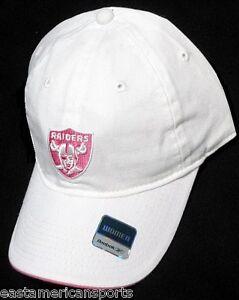 Oakland Raiders NFL Reebok Womens White Slouch Hat Cap Pink Logo ... 22d3bb66f