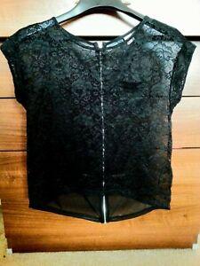 H-amp-M-Divided-Short-Sleeve-Lace-Zip-Chiffon-Top-T-shirt-Black-Size-6