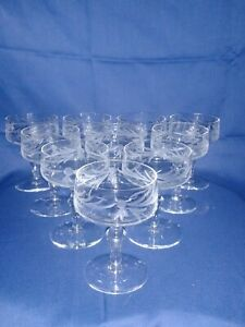 Antique-Champagne-Coupes-Rare-Crystal-Cut-Glass-Short-Stem-set-of-10