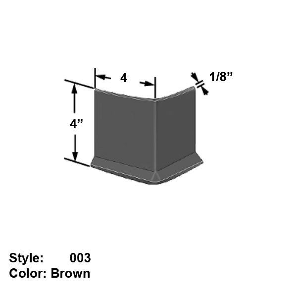 Outside-Corner Guards for Wall Bases, Style 003 - Wd. 4  - Brown - 4 ft long