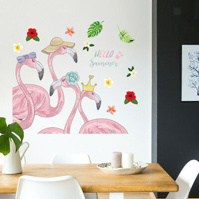 Pink Flamingo Wall Decals Vinyl Peel Stick Removable Wall Stickers Diy Decor Ebay