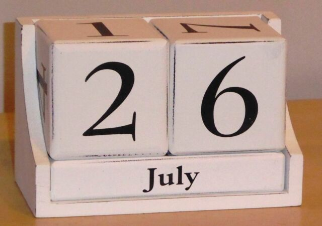 Large Shabby Chic White Wooden Perpetual Calendar