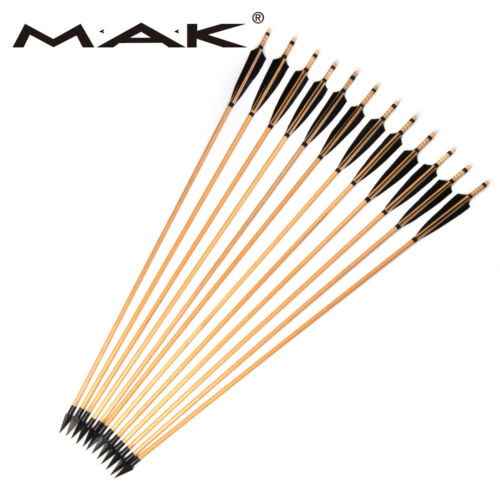 12pcs Trad Wooden Arrows 85cm Turkey Feathers For 20~60lbs Bow Archery Hunting