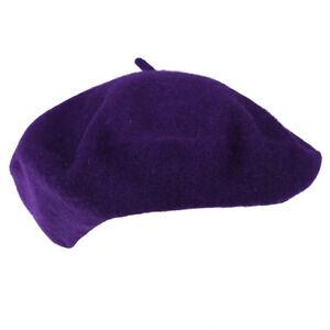 Beret-Artiste-Francais-Couleur-Pleine-Laine-Fille-Hiver-violet-T7C5
