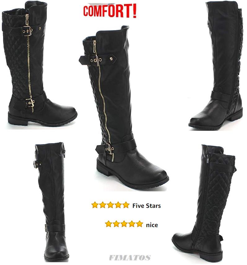Women's Winkle Back Shaft Side Zipper Knee High Flat Riding Boots,8.5 BM Black