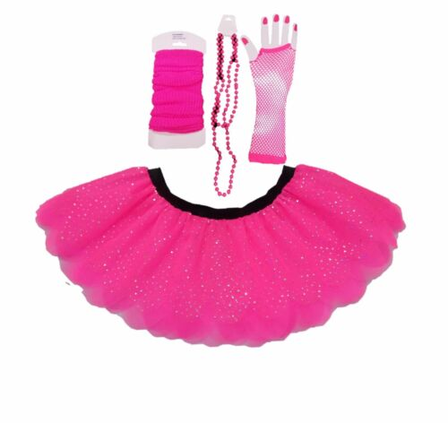 Pink Neon Sparkle Tutu i love 80s Fancy Dress Leg Warmers Gloves Hen Party fun