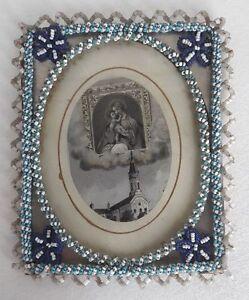 Volkskunst Glasperlen Gestickter Rahmen/perlenstickerei ~1900 Mit Andachtsbild Zuversichtlich Rar
