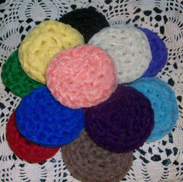 4 Hand Crocheted Nylon Dish Scrubbies Your Choice Of Colors Handmade