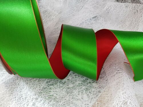Luxury Wire Edge Ribbon A BIG FESTIVE CRACKER Christmas Red//Green reversible