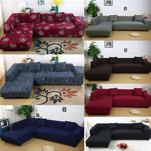 Details about 2Pcs Sectional Stretch Corner L-Shape Sofa Slipcover Couch  Cover for 2 3 Seat US