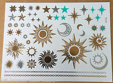 Fashion Premium sun moon star waterproof metallic golden temporary tattoo flash