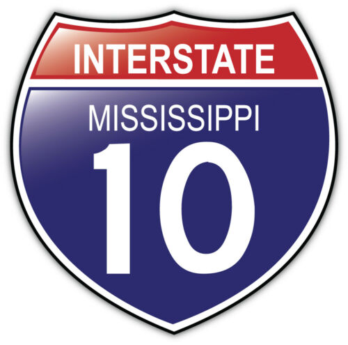 Mississippi 10 USA Interstate Shield Car Bumper Sticker Decal /'/'SIZES/'/'