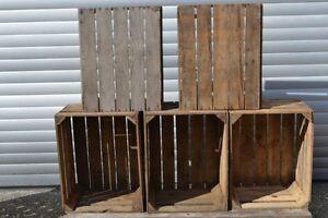 6 rustikale obstkisten apfelkisten holz weinkisten regal deko chic b ware ebay. Black Bedroom Furniture Sets. Home Design Ideas