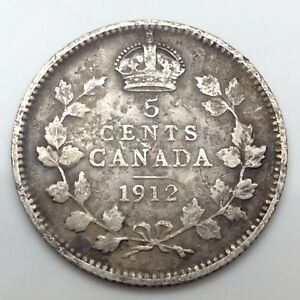 1912-Canada-Five-5-Cents-925-Silver-Canadian-Circulated-Coin-C814