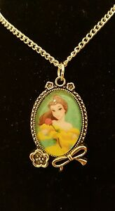 Belle-Beauty-and-the-Beast-Pendant-Necklace-Silver-Plated-Disney-Princess-Yellow