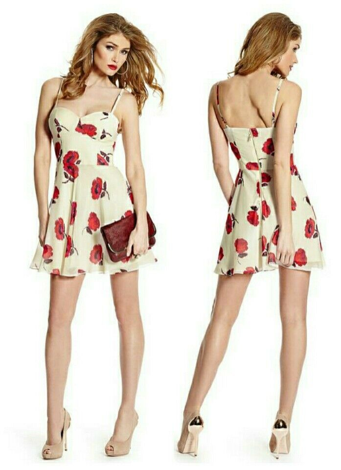 GUESS BY MARCIANO LIA POPPY FLORAL SILK DRESS