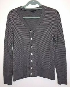 e3016d65 Brooks Brothers Black And White Knit Striped Silk Cotton Cardigan ...