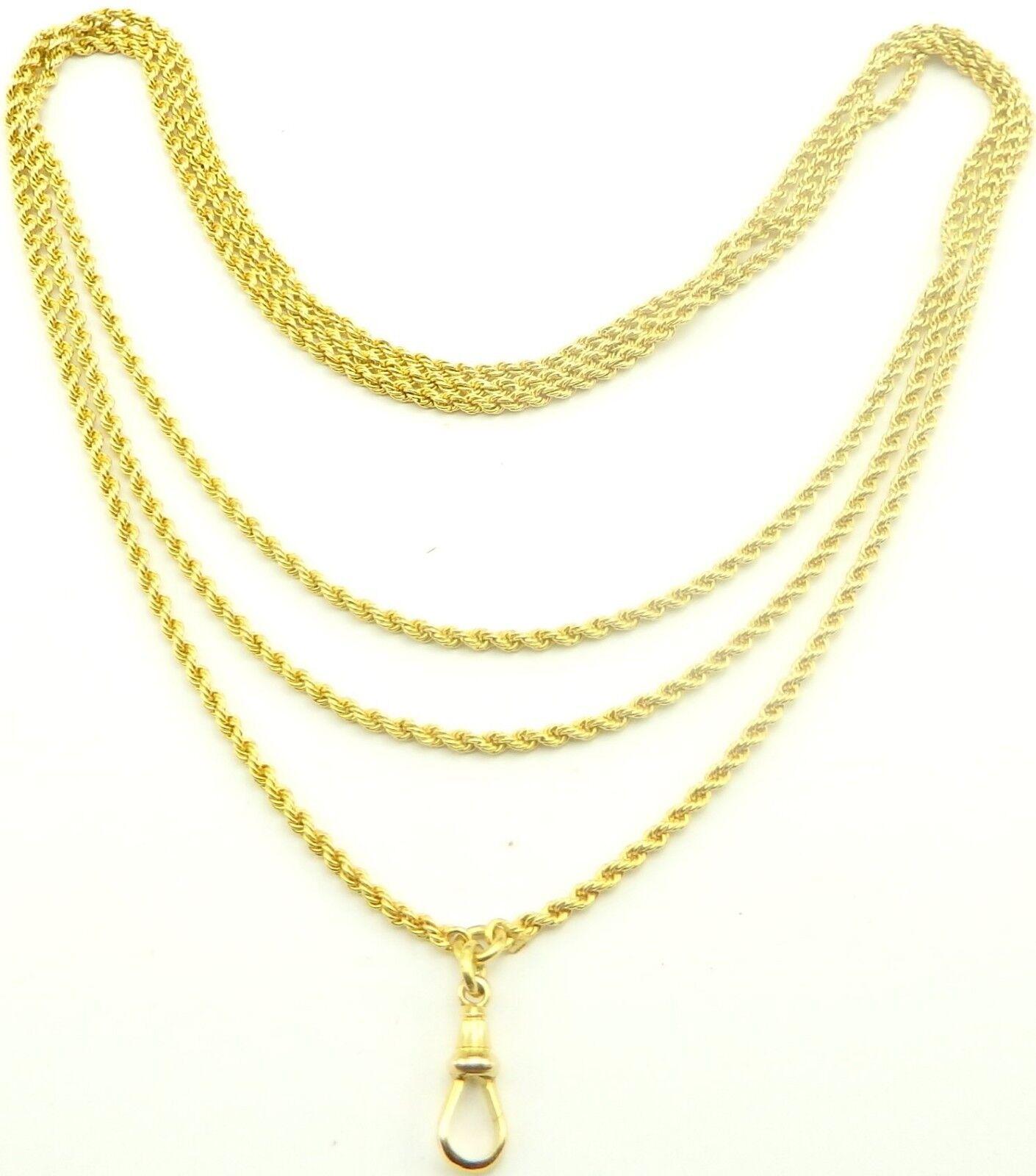 Antico 54 54 54 pollici 9ct oro Giallo MANICOTTO Guardia orologio Collana Catena pesa 32.2gm 520d92