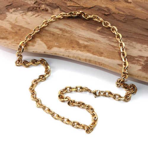 Halskette aus Edelstahl Ankerkette 60cm X 7mm Gold überzogen Gold Farbe