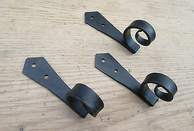 SET OF 5 40mm Bean End Old Hand forged black keys robe jewellery hanging hook