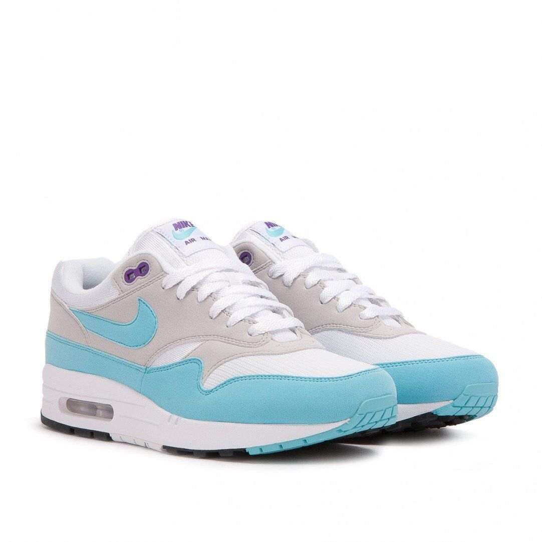 NIKE AIR MAX 1 ANNIVERSARY OG QS WHITE-AQUA-NEUTRAL GREY SZ 11.5  [908375-105]