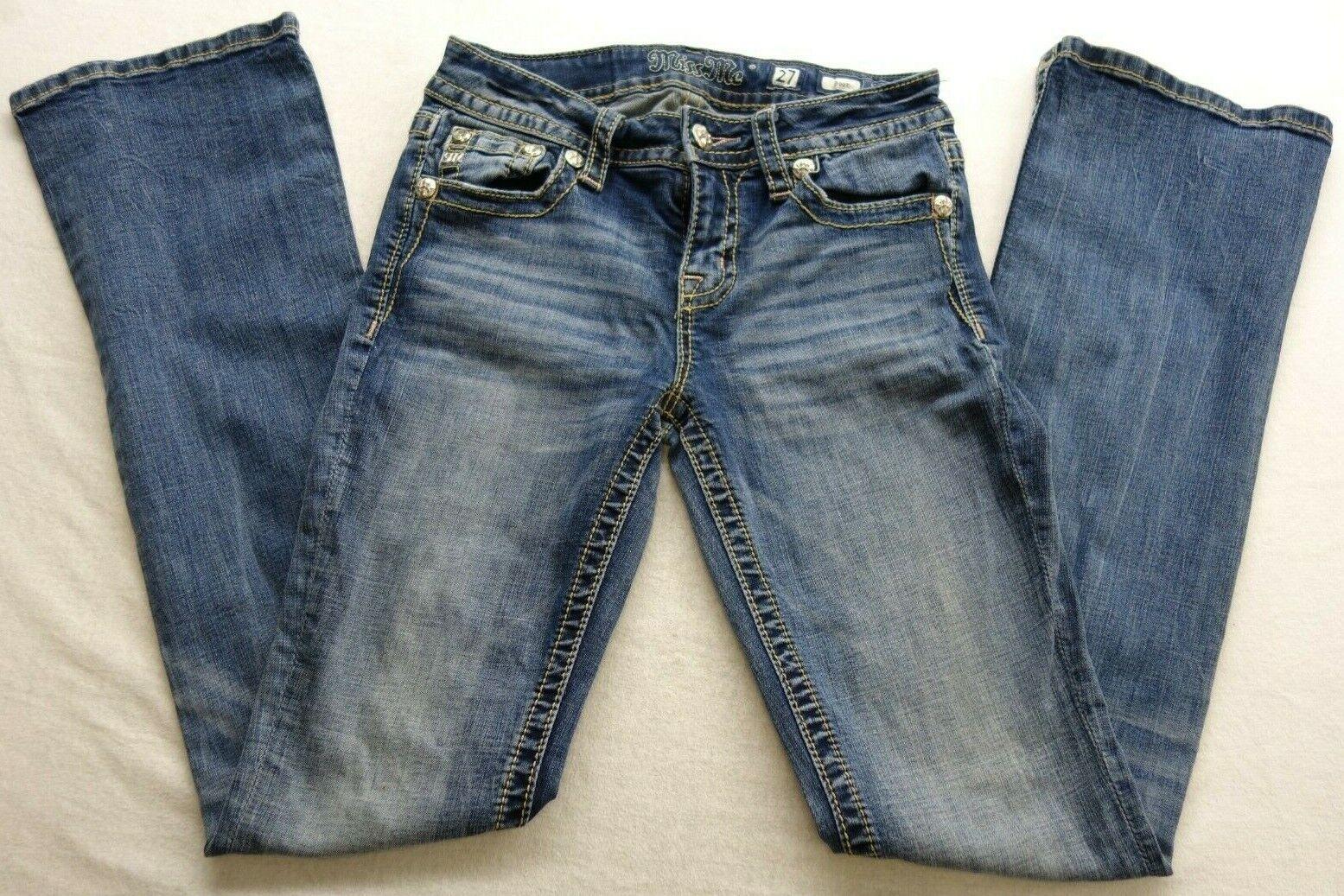 Nouveau Miss Me Pour Femme 27 x 33 poche effet vieilli et Größe mm Stiefel Cut Jeans