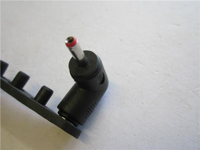 DC Push On Tip Female 5.5mmx2.1mm to Male 3.5mm x 1.3mm 3.5x1.3 Red 90 Degree