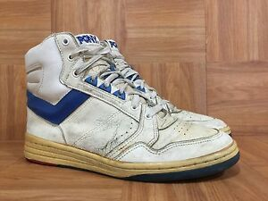 Vintage-PONY-Chevron-MVP-Hi-Basketball-Sneakers-Left-10-Right-9-5-White-Blue