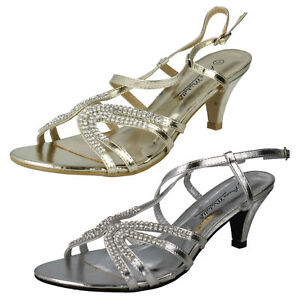 L3416-Ladies-Anne-Michelle-Synthetic-Heeled-Sandals-2-Colours-Gold-amp-Silver