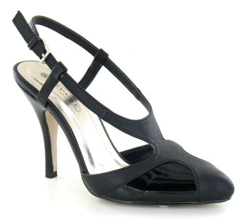 Spot on F9649 femmes bride arrière escarpins pu noir /& patent