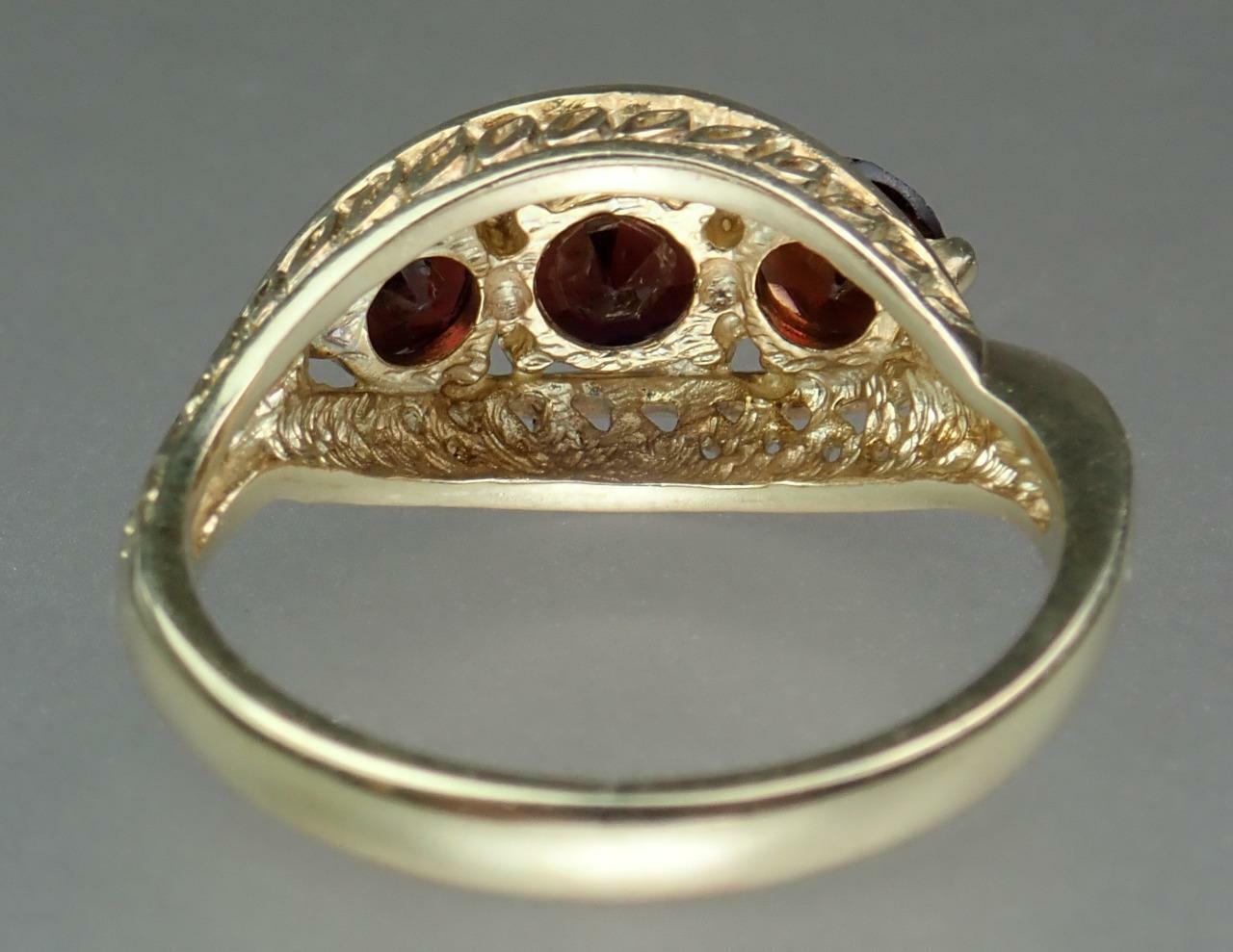 Pretty Vintage Estate 9K Gold 1.6ct Garnet Floral… - image 11