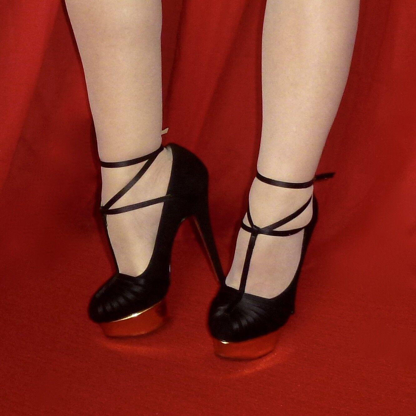 875 Charlotte Olympia Dolly en Satin Noir Noir Noir or Plateforme Cheville T Sangle 37 6.5 Rare 49d413