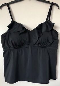 9c3cd12a24 Swimsuits For All Women's Plus Size 20 Black Ruffle Collar Tankini ...