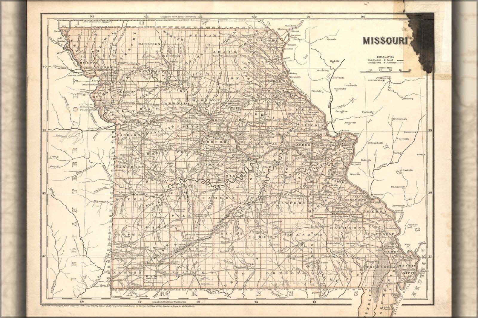 Poster, Many Größes; Map Of Missouri 1842