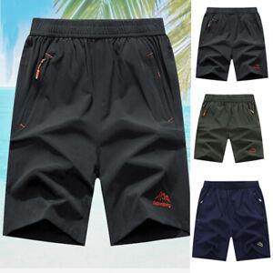 Mens-Quick-Dry-Sports-Shorts-Jogger-Gym-Zipper-Pocket-Beach-Shorts-Sweatpants