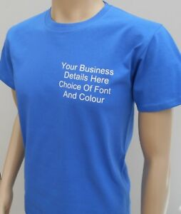 New-Custom-Printed-Text-Personalised-Heavy-Cotton-T-Shirts-Work-Wear-Uniform-Tee