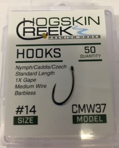 Fly Fishing Hooks Barbless 50 Count Box CMW37 sizes #10-20 Black Nickel