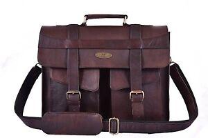 """16/"""" Mens Real Vintage Leather Messenger Laptop Briefcase Satchel Women Bag Brown"""
