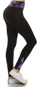 Leggings-Black-Activewear-Fulll-Length-Contrasting-Foldover-Waistband-S-to-XL