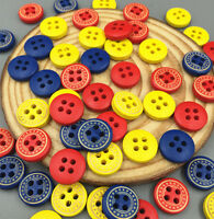 100X Mixed color wooden buttons sewing Scrapbooking decorative handicraft 12mm