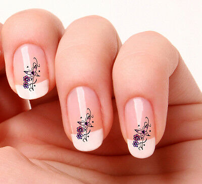 20 Nail Art Decals Transfers Stickers #280 - Butterfly flower