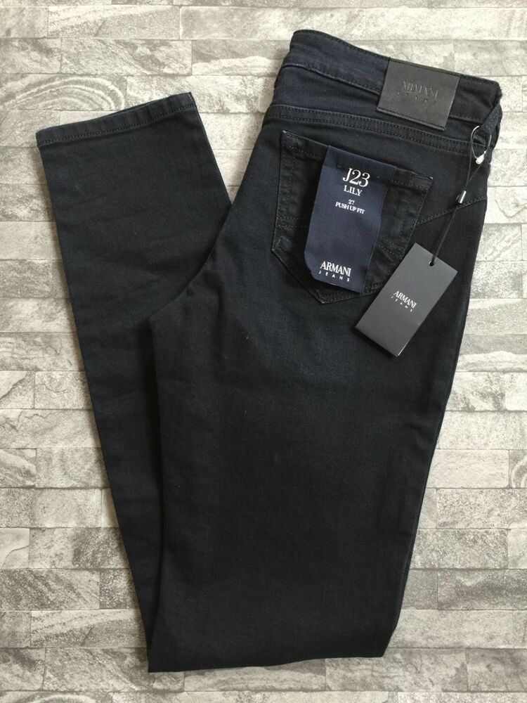 "Armani Jeans Indigo Denim J23 Push Up Bum Lifting Lily Jean Taille 27"" X 30"" Bnwt"