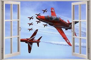 Huge-3D-Window-view-Red-Arrows-Planes-Fly-past-Wall-Sticker-Art-Decal-412