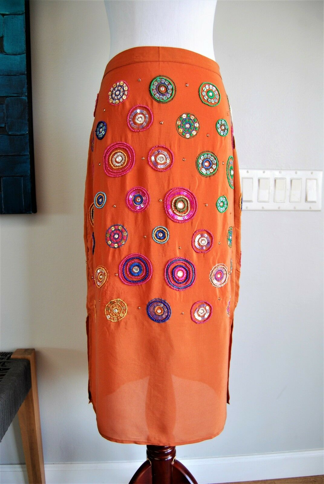 NWT Anthropologie Floreat Skirt. orange Beaded. Size 2